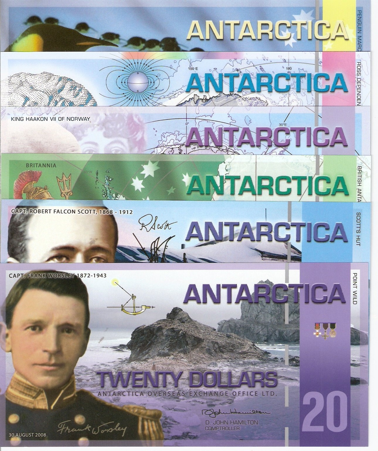 1 - 20 Dollars  UNC 6 Banknote Set
