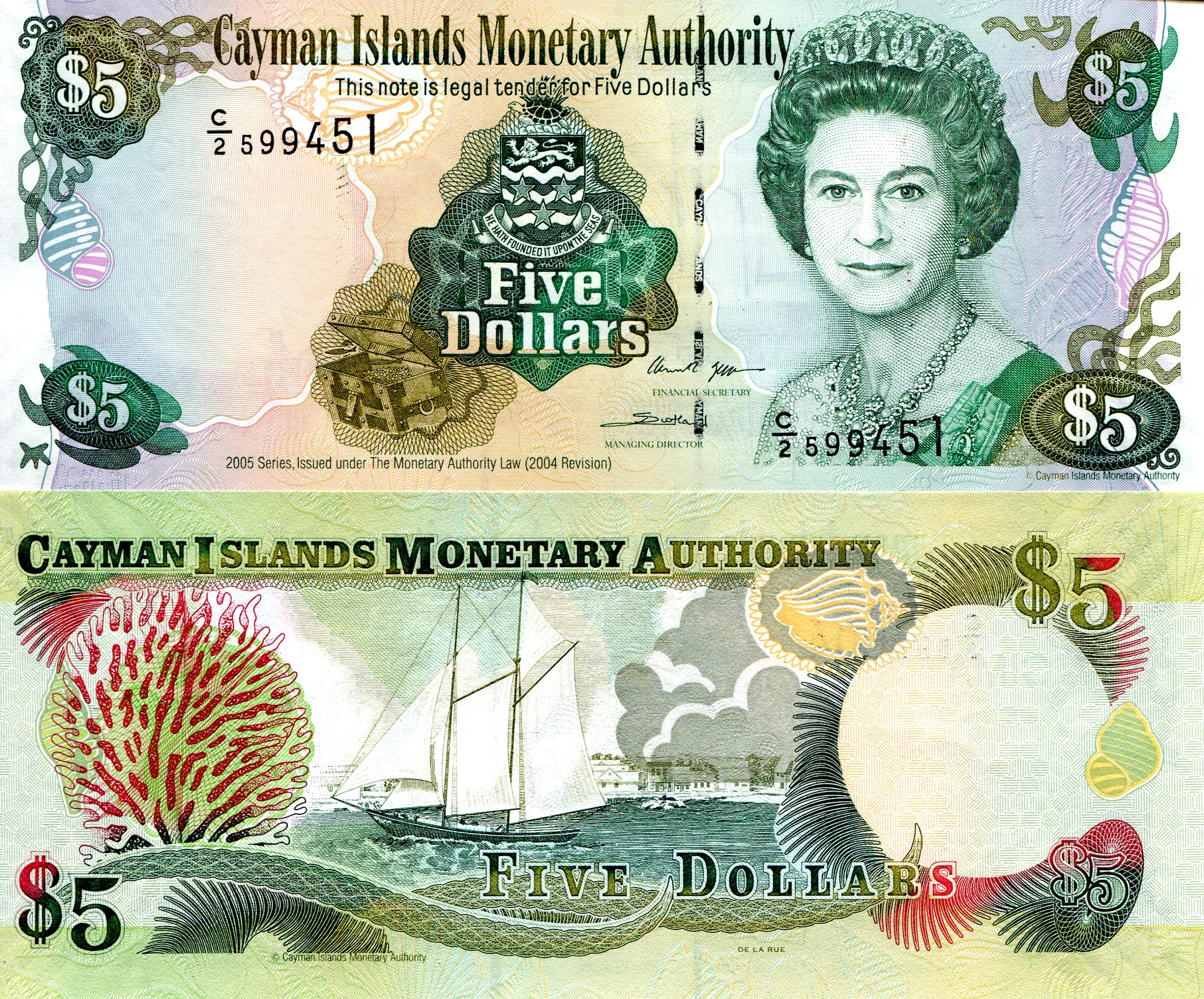 5 Dollars Unc Banknote Country Cayman Islands