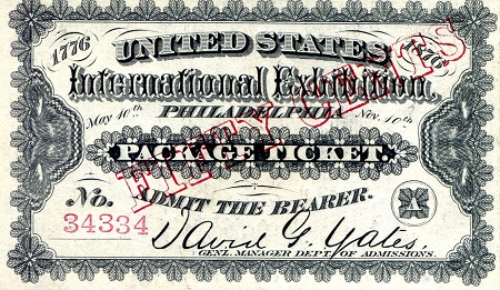 International Exhibition PA, admission ticket  Good - see scan Banknote