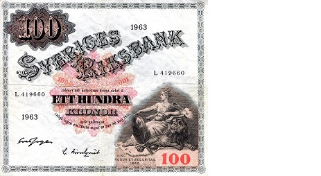 100 Kronor  F/VG (see scan) Banknote