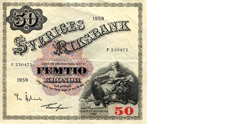 50 Kronor  F/VG (see scan) Banknote