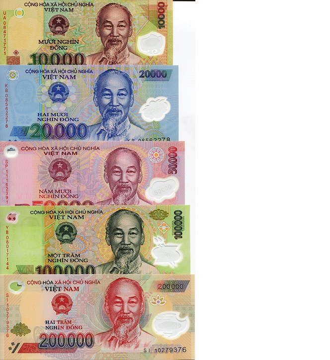 10,000-200,000 Dong  UNC 5 Banknote Set