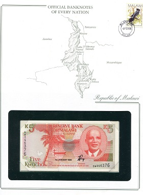 5 Kwacha  UNC (looks UNC) envelope has wear Banknote