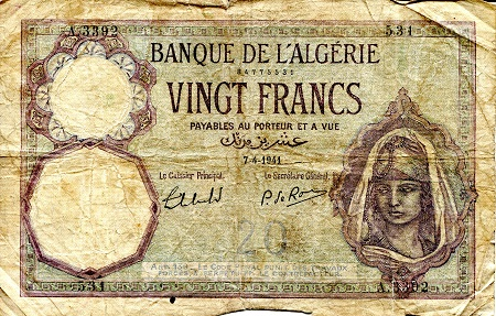 20 Francs  G (see large scan) Banknote