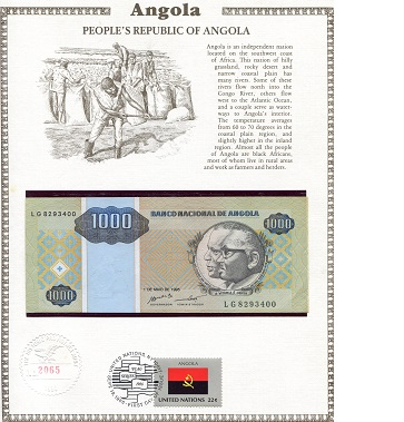 1,000 Kwanza  N/A (note looks UNC) Banknote