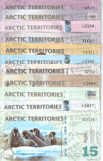 8-15 Polar Dollars  UNC 5 Banknote Set