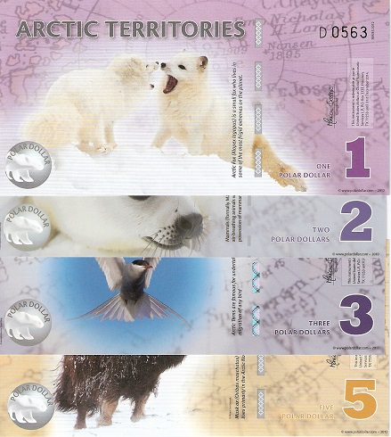 1-5 Polar Dollars  UNC 4 Banknote Set