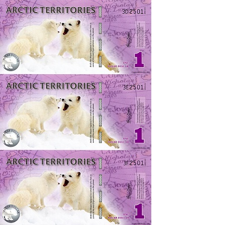 1 Polar Dollar  UNC 3 Banknote Set