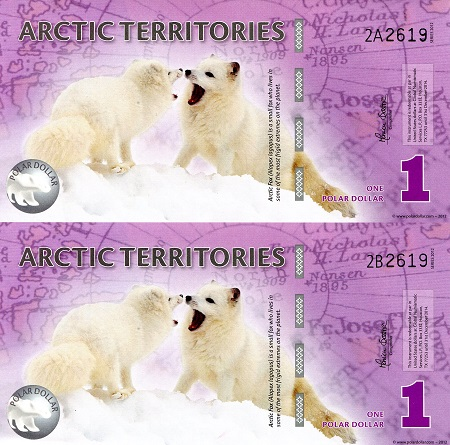 1 Polar Dollar  UNC 2 Banknote Set