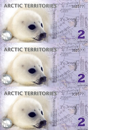 2 Polar Dollars  UNC 3 Banknote Set