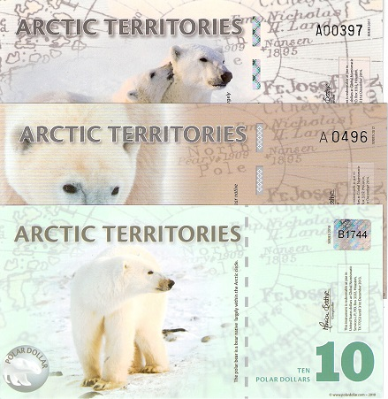 8-10  Polar Dollars  UNC 3 Banknote Set