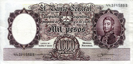 1,000 Pesos  VF/F (See large scan) Banknote