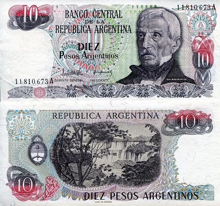 10 Pesos  XF/VF (see large scan) Banknote
