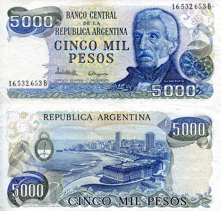 5,000 Pesos  aUNC/XF (see large scan) Banknote