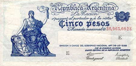 5 Pesos  XF/VF (See large scan) Banknote