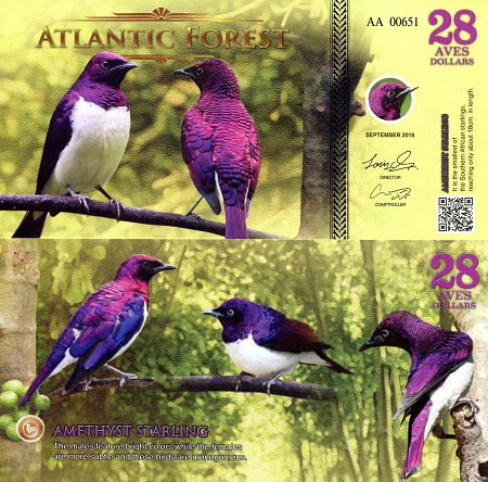 ATLANTIC FOREST 32 AVES DOLLARS CARDINAL BIRD 2017 SPECIMEN UNC