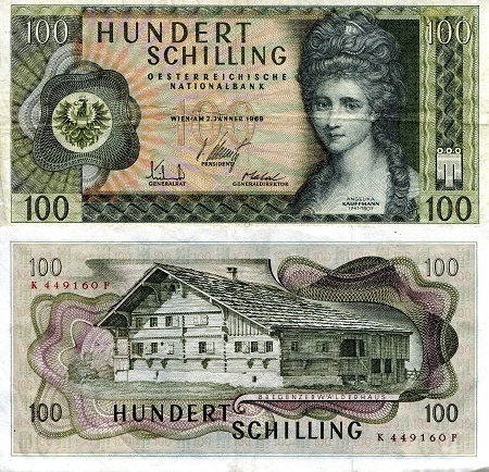 100 Schilling  VF (see large scan) Banknote
