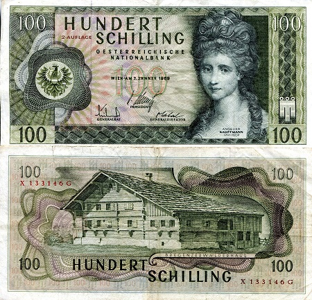 100 Schilling  VF/F (see large scan) Banknote