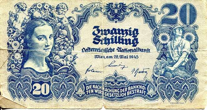 20  Shillings  VG/G (see large scan - center hole) Banknote