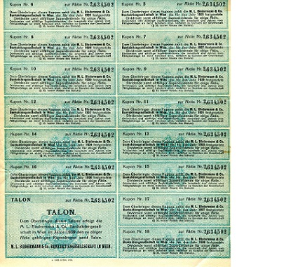 Coupon (Stock bonds)  VF/F Banknote