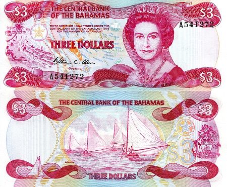 3 Dollars  aUNC/XF (see scan) Banknote