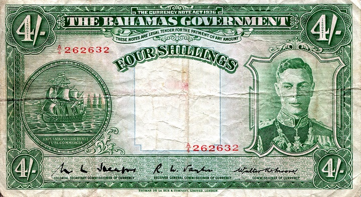 4 Shillings  VG Banknote