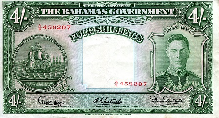 4 Shillings  F/VG Banknote