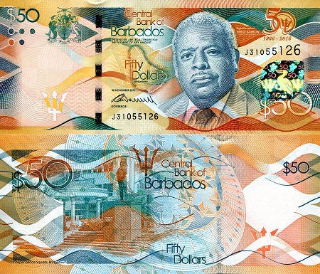 GUYANA 50 DOLLARS ND 2016 P NEW COMM 50TH UNC = 1 NOTE