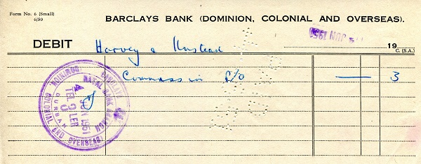 Barclays Bank Debit Slip  Not Graded (see large scan) Banknote