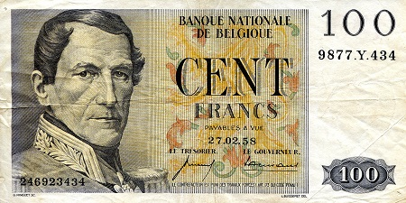 100 Francs  VF/F (see scan) Banknote