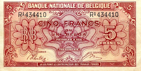 5 Francs  XF (see large scan) Banknote