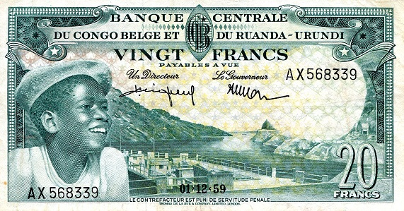 20 Francs  VF (may have been pressed?) Banknote