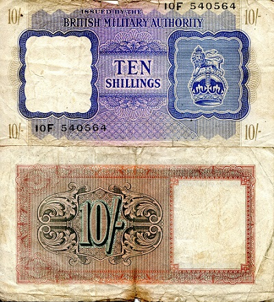 10 Shillings  VG- (see scan) Banknote