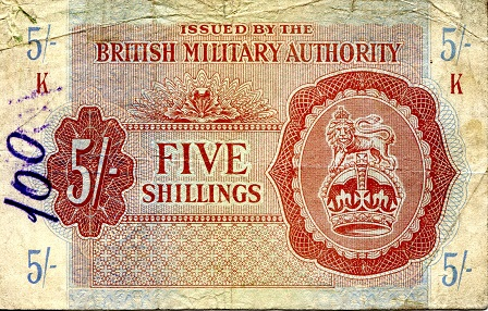 5 Shillings  VG- (see scan) Banknote