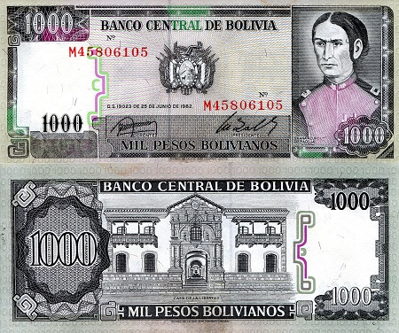 1,000 Bolivianos  aUNC/XF (small corner issues) Banknote
