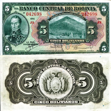 5 Bolivianos  XF/VF (see scan) Banknote