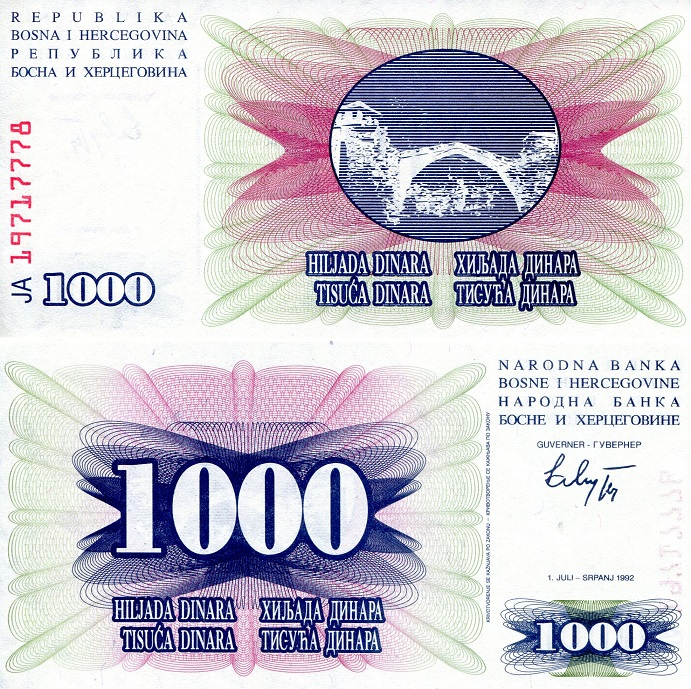 1,000 aUNC small mark on note)