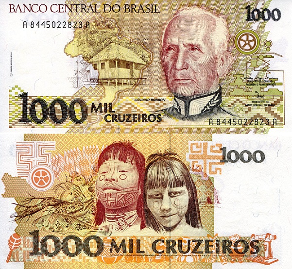 1,000 Cruzeiros  aUNC (Minor corner issue) Banknote
