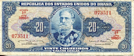 20 Cruzeiros  VF/F (see large scan) Banknote