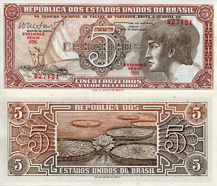 5 Cruzeiros  aUNC/XF (small corner issues) Banknote