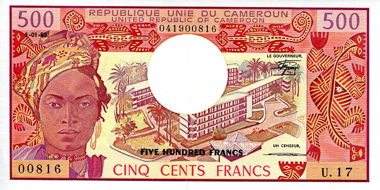 500 Francs  aUNC/XF Banknote