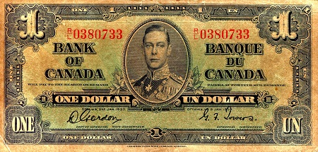 1 Dollar  F/VG (discoloration)  Banknote