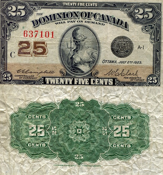 25 Cents  VF/F Banknote