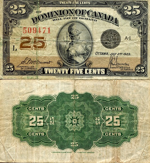 25 Cents  F/VG (see large scan) Banknote