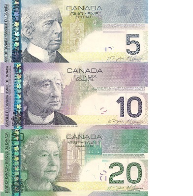 5 - 20 Dollars  UNC 3 Banknote Set