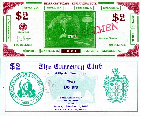 Currency Club of Chester County, PA   Banknote