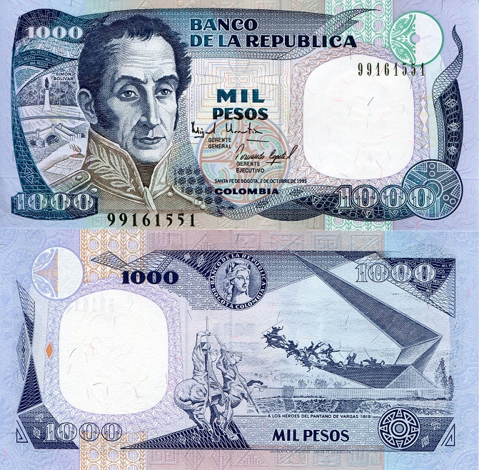 1000 Pesos Unc Banknote Country Colombia