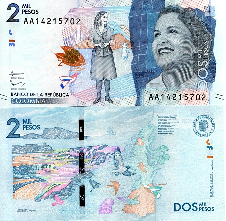Colombia 2000 Pesos P-New banknotes UNC 2015
