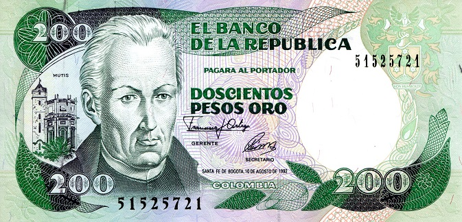 200 Pesos  aUNC - Small Black ink marks Banknote