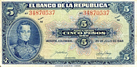5 Peso Oro  F (see scan) Banknote